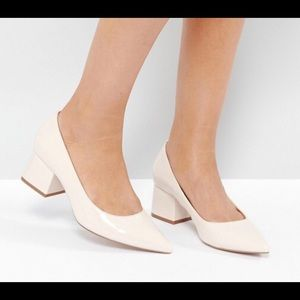 ASOS SIMPLY Block Mid Heels Nude/Cream